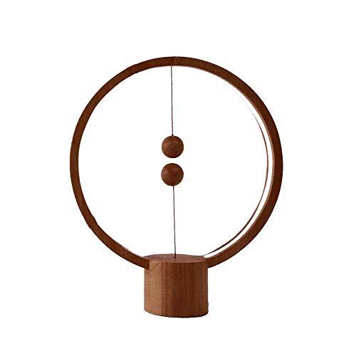 LED Balance Lampe de Chevet USB Alimenté avec Suspension Magnétique Commutateur Table Lumière pour Chambre Salon Bureau Décoration Intérieure Night Light (bois foncé)