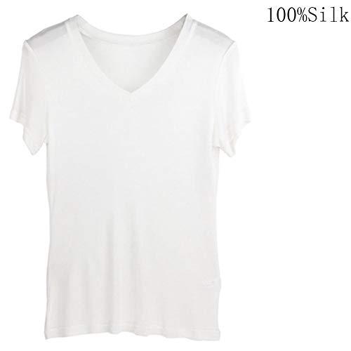 Egurs Damen Soft V-Neck T-Shirt aus 100% Natur Seide,Weich,KomfortabelWeiß S