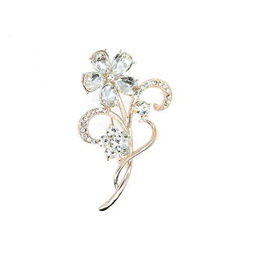 HSQYJ Blumen-Brosche mit Kristallen, modische schöne Strass-Brosche, gute Idee für Party, Tanz, Hochzeit, Bankett, für elegante Frauen und Mädchen.