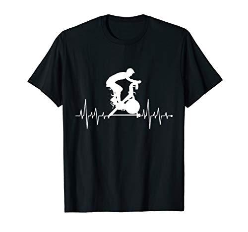 Herzschlag Herzfrequenz Herzlinie Indoorcycling Heimtrainer T-Shirt