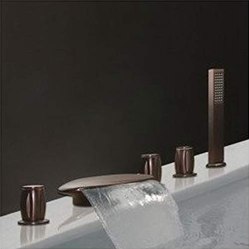 Antique Oil-rubbed Bronze Waterfall Widespread Tub Filler Bathtub and Shower Faucet Set Lavatory Vessel Sinks and Faucet Combo,Deck Mounted Shower Trim Kit Three Handles Five Holes