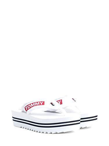 Tommy Hilfiger Damen Denim MID Beach Sandal Zehentrenner, Weiß (White 100), 39 EU