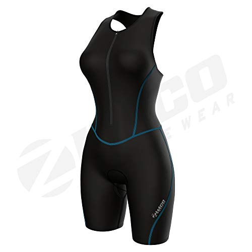 Zimco Performance Triathlon Suits Women   Triathlon Suit Women Padded   Tri Suit Women with Bra Support (Aqua Seams, Small)