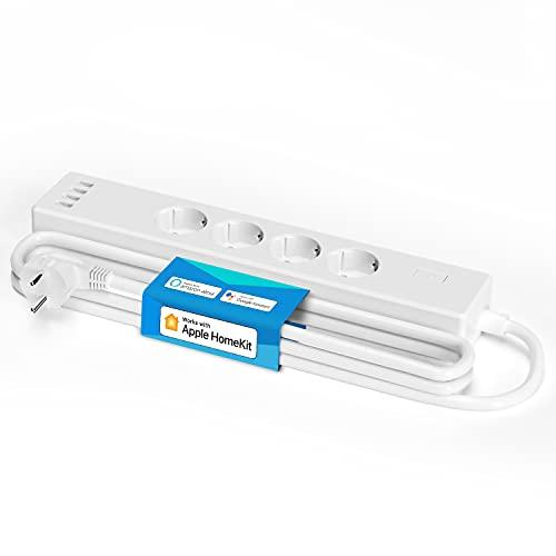 Ciabatta Smart Intelligente Multipresa Wifi - 4 Schuko 4 Porte USB, Funzione Timer Protezione da Sovraccarico 2400W, Compatibile con HomeKit, SmartThings, Alexa, Google Assistant e IFTTT