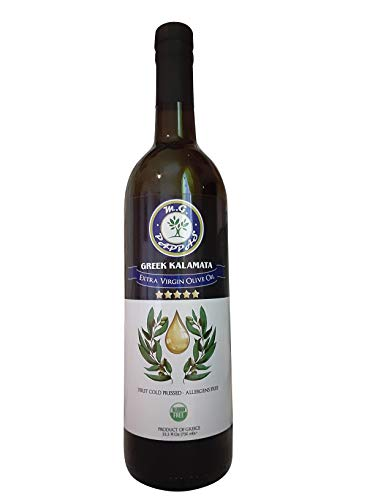 M.G. PAPPAS Kalamata Extra Virgin Olive Oil Greek Unfiltered First Cold Pressed Fresh EVOO Greece Gluten Allergens Free 25.5 Fl Oz 750ml Glass Bottle