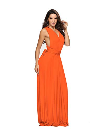 Clothink Maxikleid, umwandelbar, für Party, Hochzeit, Brautjungfer, lange Kleider - Orange - Klein
