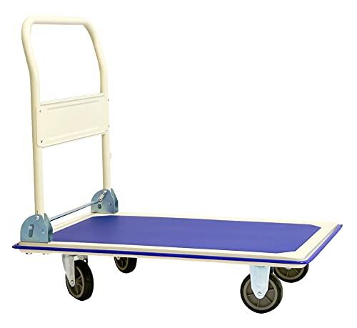 Mezzo di trasporto mezzo per magazzino - Portata 300 kg 88 x 58 cm Piattaforma con manubrio...