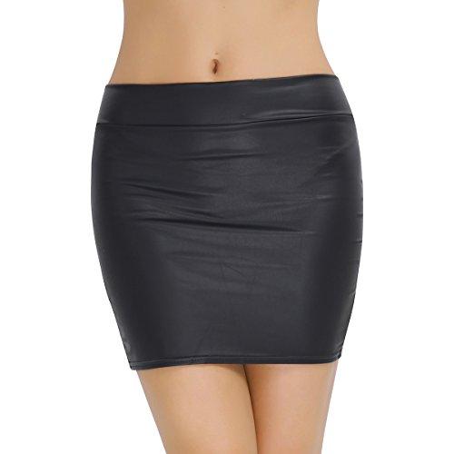 iiniim Falda de Lápiz Corta de Cuero Cintura Alta Sexy Mujer Bodycon Cadera Atractivo Falda Tubo de Piel Sintética Elástica Básica Erotico Club Talla Grande S-XXXL Negro Negro M
