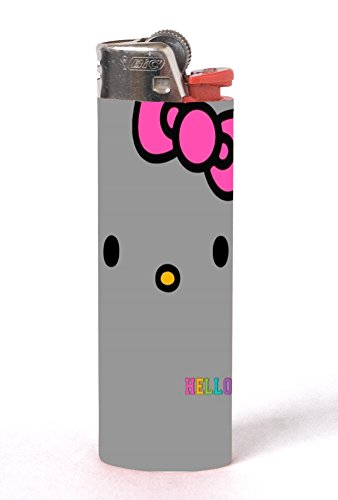 Hello Kitty Face Pink Ribbon Design Print Image 2 Pack Vinyl Decal Wrap Skin Stickers by Trendy Accessories for Bic Lighters