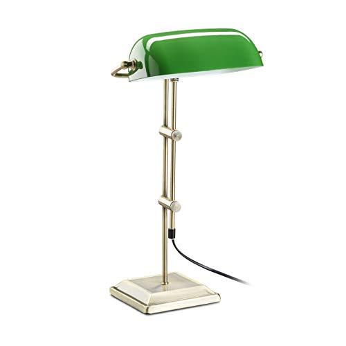 Relaxdays Lámpara de Mesa, Diseño Banquero, Verde y Bronce, 18 x 27 x 46 cm