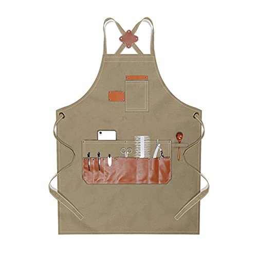Aprons for Men Women - Boshiho Barber Apron Chef Apron with Pockets Adjustable Cross Back Straps, Canvas Apron for Chef BBQ Hairstylist Artist Gardening Painting Baking (Canvas-Khaki)