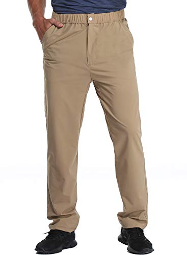 MIER Men's Stretch Hiking Pants Elastic Waist Lightweight Travel Jogger Trousers, Water Resistant, Quick Dry, Khaki, M