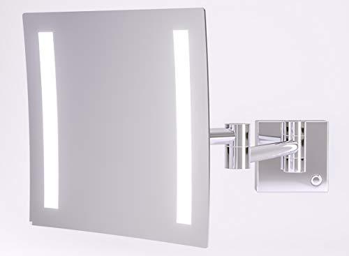 Kosmetikspiegel beleuchtet mit LED - Schminkspiegel TALOS Milos 20 x 20 cm - Rasierspiegel mit 3-facher Vergrößerung - zweistufigem Lichtfarbenwechsler (warmweiße/kaltweiße Lichtfarbe) - Wandmontage