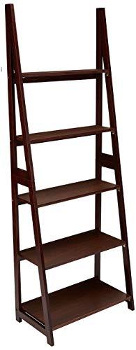 Amazon Basics Modern 5-Tier Ladder Bookshelf Organizer with Solid Rubber Wood Frame, Espresso