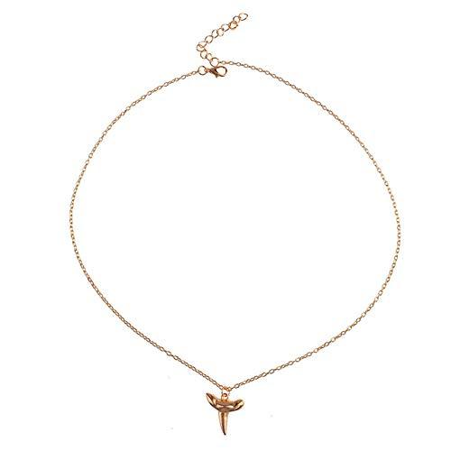 Xynhed Persoonlijkheid eenvoudige goudkleur legering haaientanden hanger lange halsketting voor vrouwen sieraden