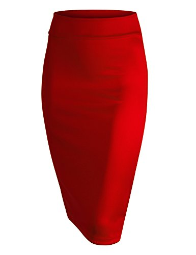 MBJ WB700 Womens Scuba Midi Skirt L RED