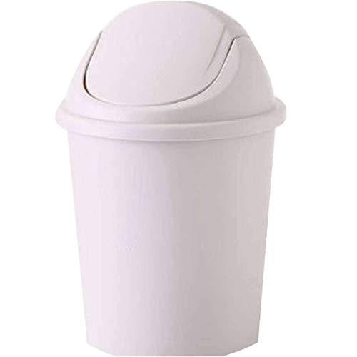 lqgpsx Schwingen Sie mit Deckel Runde Mülleimer, Müll Recycling Papierkorb Druckring Dichtung Anti-Geruch Geeignet für Schlafzimmer Badezimmer Home-12l (groß kaufen, um klein zu senden) -Pearl White