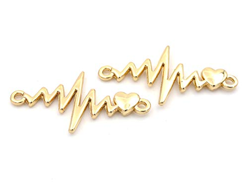 Verbinder Frequenz mit Herz in Goldfarben 2er Set von Vintageparts DIY Schmuck