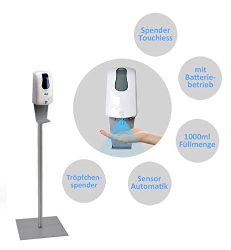 MyMAXXI | Mobiler Hand Desinfektionsmittelspender Station Sensor 1000ml PLUS Set 1 x 1L Desinfektionsmittel stehend automatisch Infrarot | touchless disinfection | Desinfektionsspender Standfuß