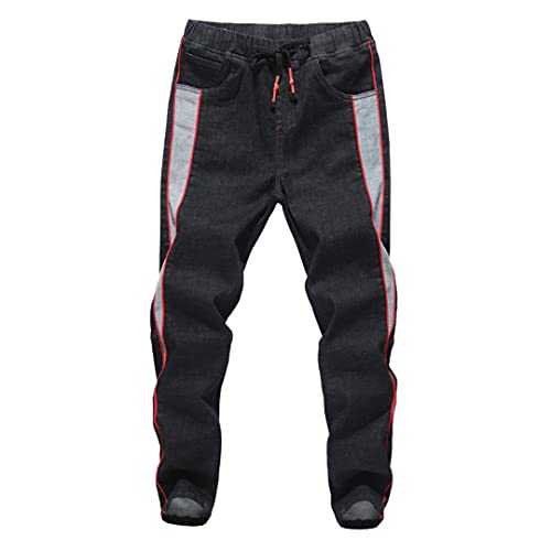 GYSAFJ Hombres Jeans Harem Pantalones Cintura Elástica Hombres Hombres Pantalones holgados holgados Pantalones Vaqueros, Negro, 6X-Large