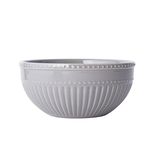 Mikasa Italian Countryside Accents Soup/Cereal Bowl, Fluted Grey -