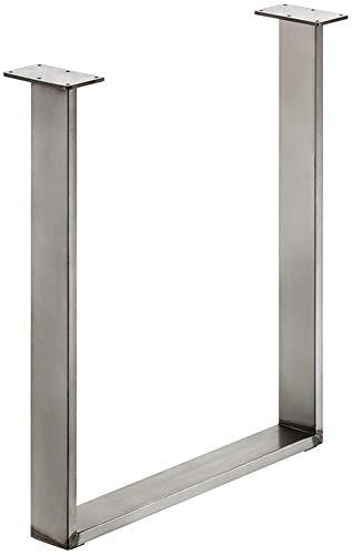 Gedotec Stahl-Tischkufe Tischgestell zum Anschrauben | Tragkraft 150 kg | Metall Rohstahl lackiert im Vintage/Retro Look | Profil 80 x 20 mm | Tischbein höhen-verstellbar +10 mm