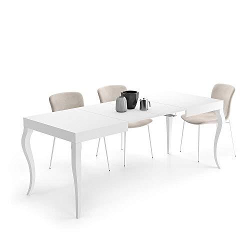 Mobili Fiver, Mesa Extensible Classico, Blanco Mate, 120 x 80 x 76 cm