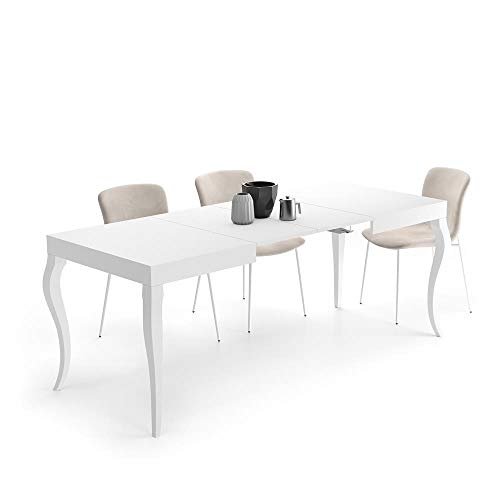 Mobili Fiver, Tavolo Allungabile Classico, Bianco Opaco, 120 x 80 x 76 cm, Nobilitato, Made in Italy, Disponibile in Vari Colori