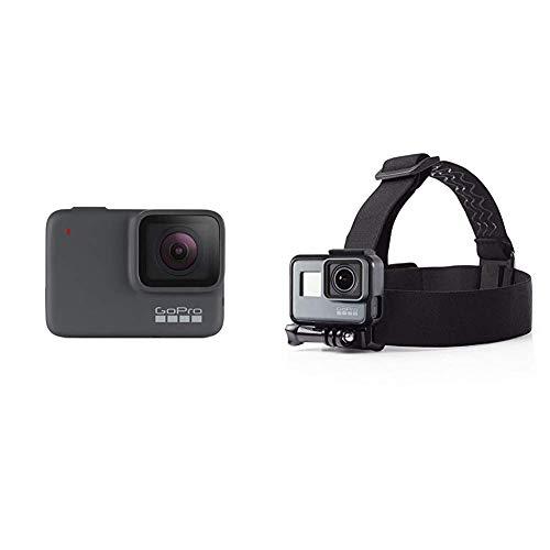 GoPro HERO7 Silber – wasserdichte Digitale Actionkamera mit Touchscreen, 4K-HD-Videos, 10-MP-Fotos & Amazon Basics Kopfgurt für GoPro Actionkamera