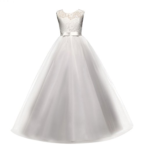Vestido de niña de Flores para la Boda Niños Largo Gala Encaje De Ceremonia Fiesta Elegantes Comunión Blanco 14-15 años