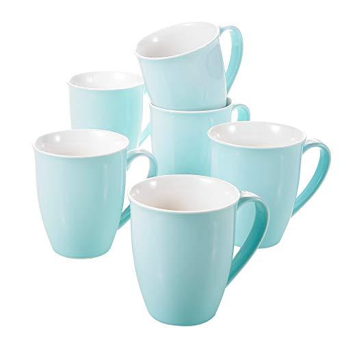 Panbado, Porzellan Tassen 6 TLG. Set, 310 ml Kaffeetassen, Himmelblau Farbe, Cappuccinotassen, Milch Tasse, Kaffee Tassen Sets mit henkel für Heißgetränke