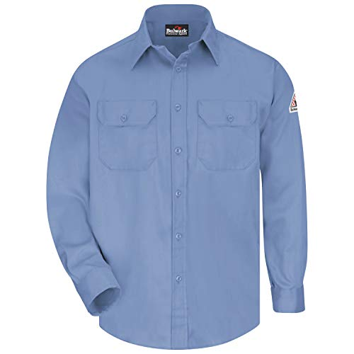 Bulwark Flame Resistant 6 oz Cotton/Nylon Excel FR ComforTouch Regular Uniform Shirt with Straight Back Yoke, Topstitched Cuff, Light Blue, 3X-Large