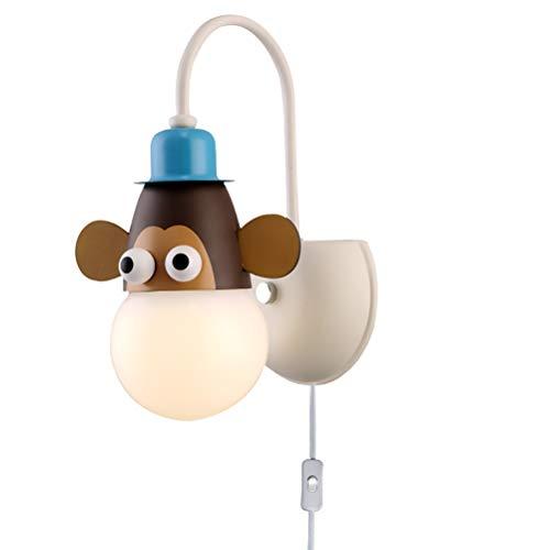 Moderne Kinder Wandleuchte mit Schalter, Kreative Karikatur Design Innen Wandlampe Nachttischlampe Wandmontage mit 1,0 m Kabel, Jungen Mädchen Zimmer E27 Wandlichter für Kinderzimmer