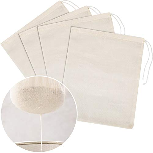 Tatuo 4 Pieces Cheesecloth Bags Nut Milk Strainer Cotton Muslin Bags Mesh Food Bags for Yogurt Coffee Tea Juice Wine Supplies (Large (12 x 14 Inches))
