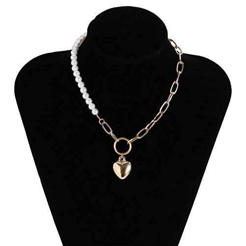 Collares, Moda Perla Gargantilla Collar Para Las Mujeres Elegante Metal Corazón Colgante Collares Collares Joyería Colgante Collares Collares (Color del metal: Color Dorado)