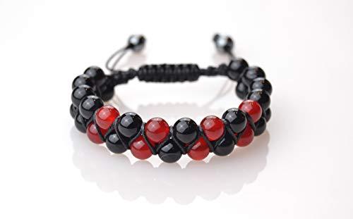 World crmy Pulseras Shamballa Dobles de Piedras semipreciosas Naturales para Hombre Mujer Yoga Kundalini gemoterapia 7 Chakras Reiki y meditación (Ágata Negra y roja)