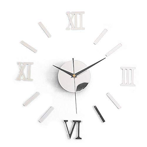 Moderne DIY Wohnkultur große Kaffeetasse Aufkleber Küche Wanduhren Silent Clock Aufkleber - Silber