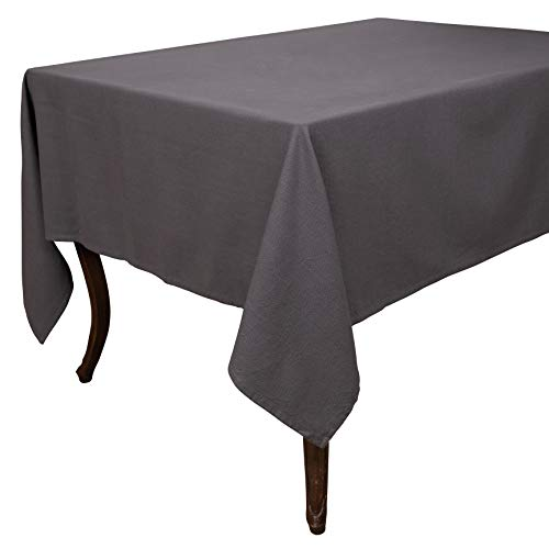 KAF Home Washed Rustic Table Linens | Perfect for Entertaining and Everyday Dining (70' x 108' Tablecloth, Gray)