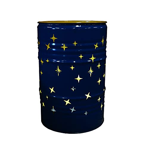 Fuchsbau Feuertonnen Feuertonne mit Sternenhimmel Motiv - Gefertigt aus 200L Ölfass - Besondere Feuerstelle für Garten und Terrasse - Hohe Feuerschale mit Rostoptik - 90 x 60 cm