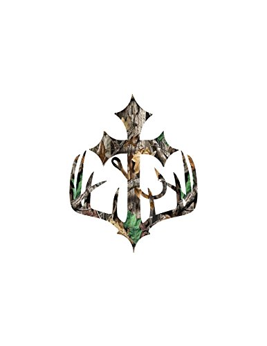 Cross Hunting Deer, Fish Hook Camo Decal