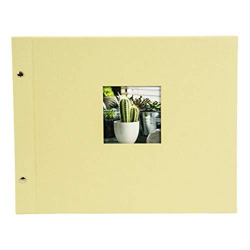 Goldbuch - Album Fotografico Bella Vista, 39 x 31 cm, 40 Pagine con divisori in Pergamena, espandibile, Lino, Colore: Grigio, 28, Panno, Verde Tiglio, 39 x 31 cm