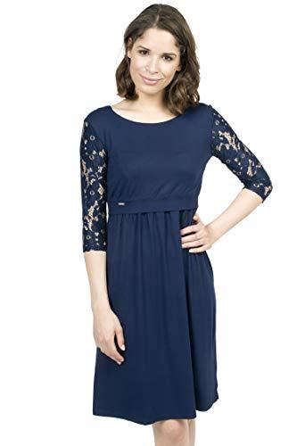 Mania Stillkleid Elegance, schicke & Bequeme Stillmode, ermöglicht diskretes Stillen, Stillkleid + Langarm-Shirt, A-Linie, figurschmeichelnd, dunkelblau mit Spitze, Größe: M