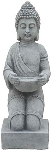 gartendekoparadies.de Massiver Stein Buddha kniend Mönch aus Steinguss frostfest (Grau)