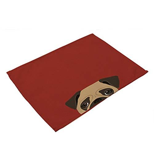 Portavasos 1 unids perro gato patrón placemat comedor mesa estera beber montañas occidental almohadilla algodón lino taza estera 42 * 32 cm accesorio de cocina (Color : F)