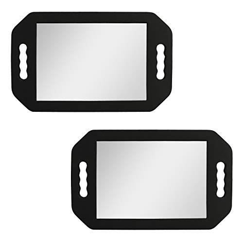 Kurtzy Espejo de Mano Ligero para Peluquería (Pack de 2) Espejo Barbero de Espuma Negro para Salones y Esteticistas – Espejo Asa Doble - Espejo para Cortarse el Pelo Ver La Parte Trasera de la Cabeza