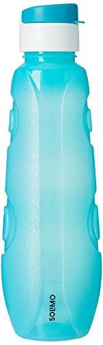Amazon Brand - Solimo Plastic Water Bottle Set with Flip Cap (Set of 3, 1L, Circular Pattern)