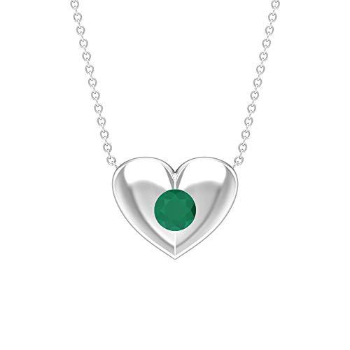 Rosec Jewels 10 quilates oro amarillo redonda Green Verde ónix
