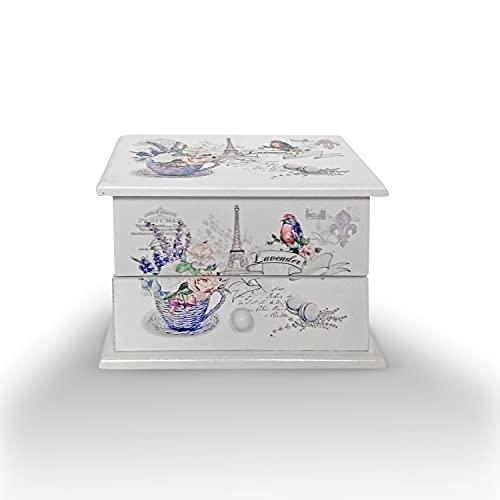 Joyero Musical, cajón musical para Joyas, Cofre de almacenamiento de Collares, anillo, y pendientes, organizador de diseños juveniles, ideal para regalo con espejo pequeño (FLORES MUSICAL ALE)