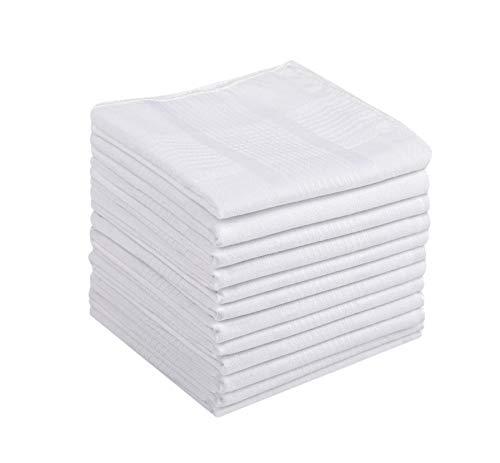 Causa Forcia Cotton Handkerchiefs for Men Thick Soft Turkish White Cotton, 12 Pack (Plain White with White Stripes)
