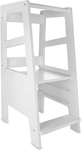 Lernturm - Learning Tower Ab 1 Jahr - Küchenhelfer Holz Weiß - Küchenhilfe Kinder - Möbel Hilft Zu Lernen Kochen - Lassen Sie das Kind die Arbeitsplatte und das Waschbecken erreichen